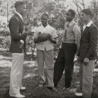 Coach with student athletes, Charleston, South Carolina, 1939, courtesy of the Avery Research Center.