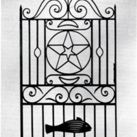 """Star and Fish Gate,"" National Museum of American History, Smithsonian Institution, Washington, D.C., image from Keeper of the Gate: Designs in Wrought Iron by Philip Simmons, Master Blacksmith, photograph courtesy of Division of Work and Industry, National Museum of American History, Smithsonian Institution."