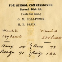 Detal of vote ticket for School Commissioner, including Gustave Pollitzer, Charleston, S.C., November 3, 1903, Anita Pollitzer Family Papers, South Carolina Historical Society.