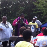 Reverend Dr. William Barber II, President of the North Carolina NAACP, addressing crowd at the Days of Grace March and Rally, photograph by Mary Battle, September 5, 2015. Charleston, South Carolina.