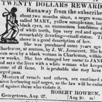 Runaway advertisement for Mary, Charleston Courier, April 18, 1825.