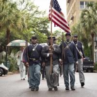 The 54th Massachusetts Regiment re-enactment procession, photograph by Jonathan Boncek, Charleston, South Carolina, April 19, 2015.