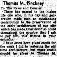 Letter to the Editor about the work of Thomas M. Pinckney after his death (part 1 of 2), written by Susan Pringle Frost, 1952, courtesy of the Preservation Society of Charleston.