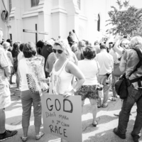People gather for a prayer service outside of Emanuel AME church, photograph by Delane Chavez, June 20, 2015, Charleston, South Carolina.