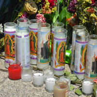 Candles left outside of the Emanuel AME Church in honor of the victims of the shooting, June 20, 2015, Charleston, South Carolina, courtesy of ABC New4 WCIV-TV.