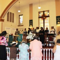 Allen Temple AME Church holding a service in honor of the victims of the Emanuel AME Church shooting, June 21, 2015, Greenville, South Carolina.