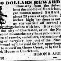 Runaway advertisement for Sarah, Charleston Mercury, July 4, 1836.
