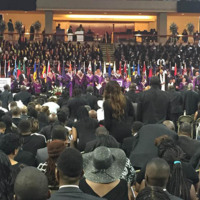 Attendees of Reverend Pinckney's funeral, Charleston, South Carolina, courtesy of ABC New4 WCIV-TV.