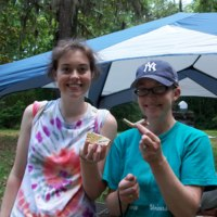 Student researchers showing artifacts from the churchyard, photograph by Maureen Hays, Stono Preserve, 2010.
