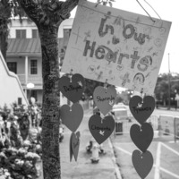 Messages and prayers left at the Emanuel AME Church, photograph by Brandon Coffey, June 29, 2015, Charleston, South Carolina.