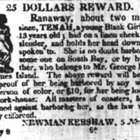 Runaway advertisement for Tenah, Charleston Courier, Mary 8, 1822.