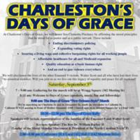 Flyer for Charleston's Days of Grace March, Rally, and Conference, courtesy of Pastor Thomas Dixon, September 5, 2015, Charleston, South Carolina.