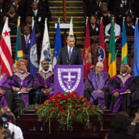 President Barack Obama giving the eulogy at Reverend Clementa Pinckney's funeral service, June 26, 2015, Charleston, South Carolina, courtesy of the College of Charleston.