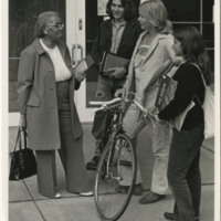 Septima P. Clark speaking with young students at University of California, Santa Cruz, ca. 1970s, Septima P. Clark Papers, courtesy of the Avery Research Center.