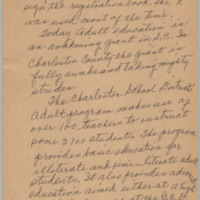 "Handwritten essay entitled ""Adult Basic Education in Charleston"" by Septima Clark (page 2 of 4), ca. 1957, courtesy of the Avery Research Center."