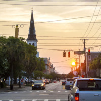 A quiet Calhoun Street with steeple of Emanuel AME Church, photograph by Brandon Coffey, June 29, 2015, Charleston, South Carolina.