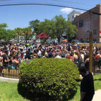 Hundreds gather outside of Morris Brown AME Church to listen to the Community Prayer Vigil broadcast over loudspeakers, June 18, 2015, Charleston, South Carolina, courtesy of ABC New4 WCIV-TV.