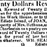 Runaway advertisement for Joan, Charleston Mercury, November 30, 1829.