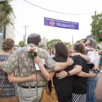Members of Charleston's Jewish community gather at Emanuel AME Church, photograph by Sarah Goldman, June 19, 2015, Charleston, South Carolina.