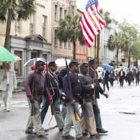 54th Massachusetts Regiment re-enactment procession, photograph by Jonathan Boncek, Charleston, South Carolina, April 19, 2015.