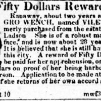 Runaway advertisement for Viletta, Charleston Mercury, August 21, 1829.