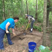 Archaeological excavations at the St. Paul's Parish parsonage site, photograph by Maureen Hays, Stono Preserve, 2016.