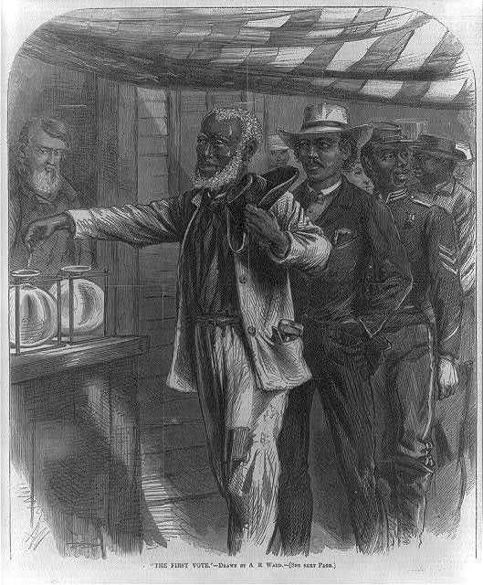 """The first vote,"" 1867, wood engraving by Alfred R. Waud, <em>Harper's Weekly</em>, courtesy of the Library of Congress Prints and Photographs Division."