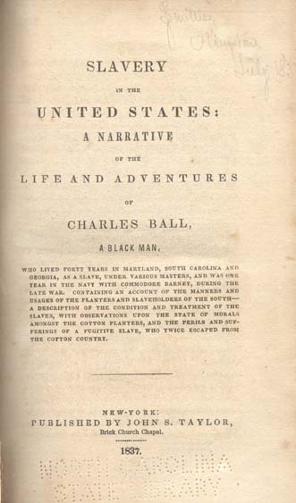 Charles Ball Slave Narrative Title Page, 1837, courtesy of Documenting the American South.