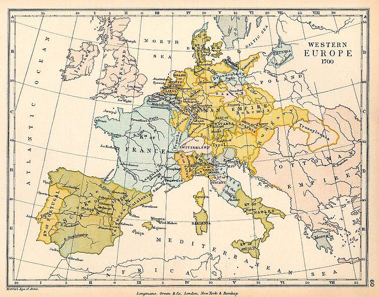 Map of Western Europe, 1700, courtesy of the University of Texas Libraries, University of Texas at Austin.