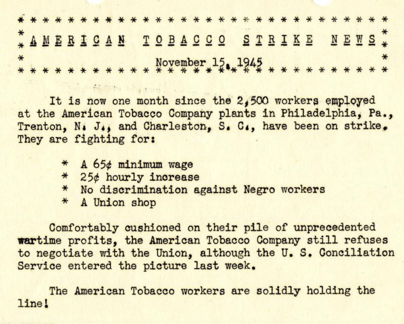Cigar Factory workers' demands on the American Tobacco Company, Charleston, South Carolina, from <em>American Tobacco Strike News</em>, November, 15, 1945, courtesy of Avery Research Center.