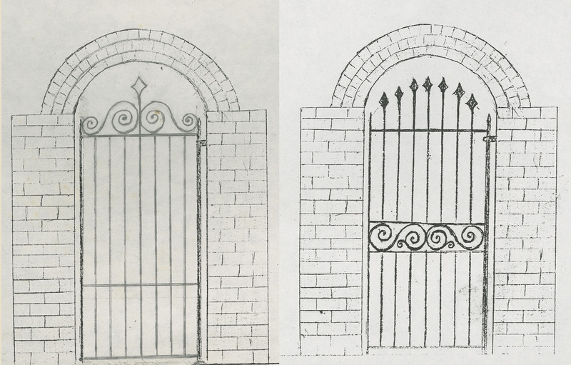 "Garden gate sketches (""no. 2"" and ""no. 3""), 113 Broad Street, Charleston, South Carolina, created by Philip Simmons, ca. 1995, Philip Simmons Collection, courtesy of the Avery Research Center."