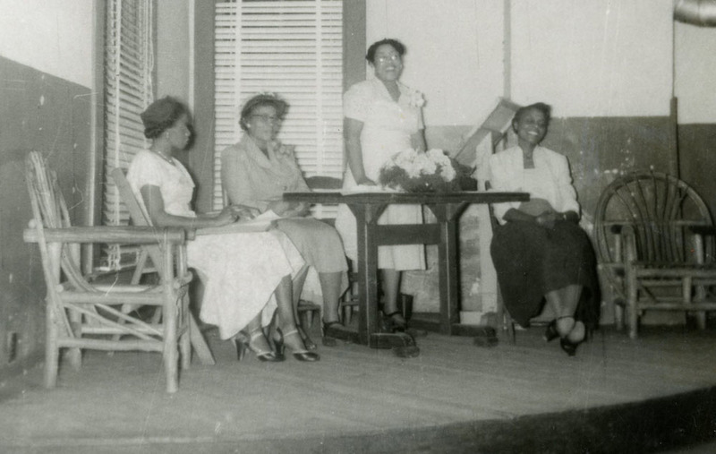 Selection from photograph of YWCA annual meeting with Giles Brown (speaking), Hattie Watson, Septima Clark (second from left) and Lucille Williams, at the Coming Street YWCA, Charleston, South Carolina, May 2, 1952, YWCA Papers, courtesy of the Avery Research Center.