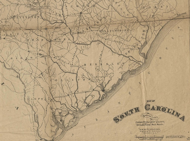 """Detail of the Lowcountry in a """"Map of South Carolina showing Cotton Mills, Water Powers, Streams, and Railroads,"""" 1895, courtesy of the South Carolina Historical Society."""