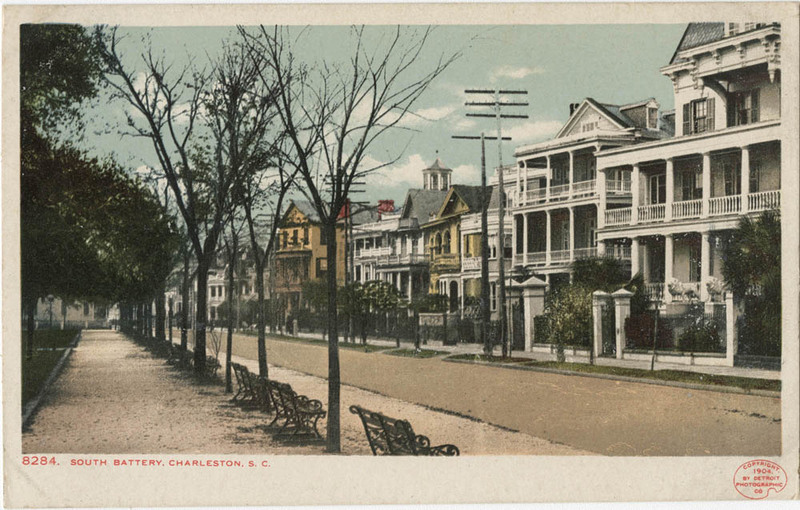 """""""South Battery, Charleston S.C.,"""" 1904, Leah Greenberg Postcard Collection, courtesy of College of Charleston Libraries."""
