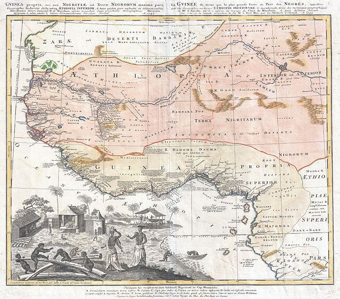 Map of West Africa, created by Homann Heirs, 1743, courtesy of Geographicus Fine Antique Maps.