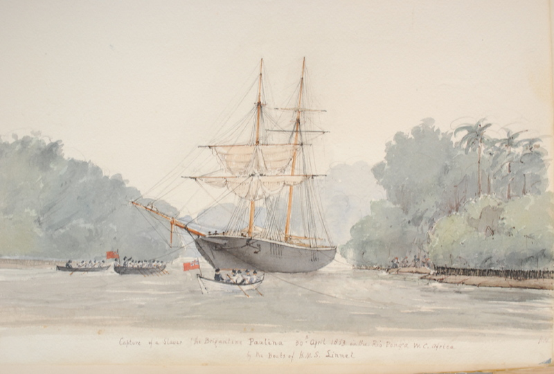 """""""Capture of a Slaver the Brigantine Paulina,"""" in the Rio Ponga, West Central Africa, painting by Francis Meynell, 1853, courtesy of the National Maritime Museum, London, United Kingdom."""