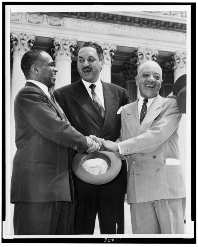 George E.C. Hayes, Thurgood Marshall, and James M. Nabrit, following Supreme Court decision declaring segregation unconstitutional, Washington, D.C., 1954, photograph by Associated Press, courtesy of the New York World-Telegram & the Sun Newspaper Collection, Library of Congress.