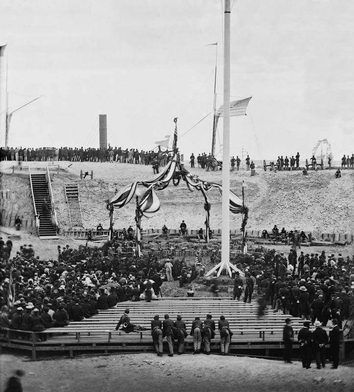 Major General Robert Anderson raises American flag over Fort Sumter, Charleston, South Carolina, April 14, 1865, courtesy of Library of Congress.
