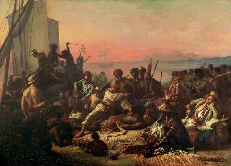 The Slave Trade (Slaves on the West Coast of Africa) by François Auguste Biard, oil on canvas, circa 1833, courtesy of BBC Paintings. Initially, captives in the trans-Atlantic slave trade came from coastal port areas of West and Central Africa. As demands for more enslaved labor increased in the Americas, the slave trade in Africa expanded, and more captives originated from deeper in the interior.