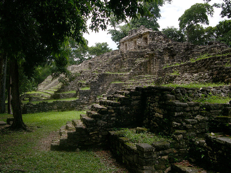 Pyramid ruins in Yaxzhilan, an ancient Mayan city in Chiapas, Mexico, 2005.
