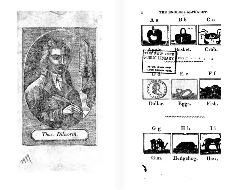 Page from Thomas Dilworth's<em>A New Guide to the English Tongue,</em>Thomas Dilworth, 1827, courtesy of New York Public Library.