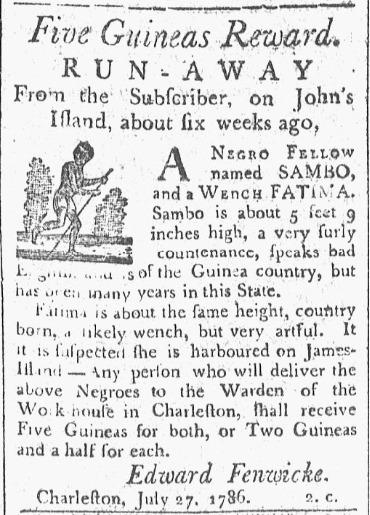Runaway slave advertisement,&nbsp;<em>The State Gazette of South Carolina,&nbsp;</em>Charleston, South Carolina, August, 7,1786.