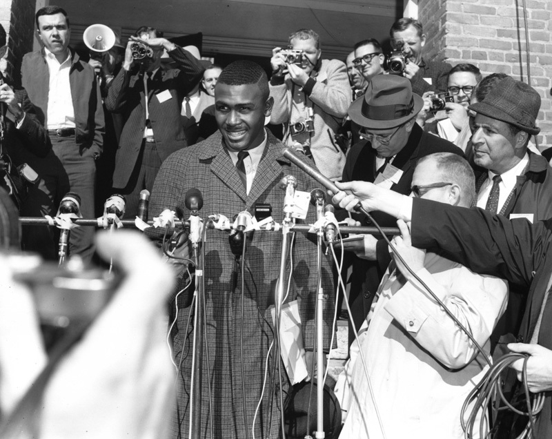 Harvey Gantt being interviewed upon entering Clemson College as the first African American student, Clemson, South Carolina, January 28, 1963, courtesy of Special Collections, Clemson University Libraries.