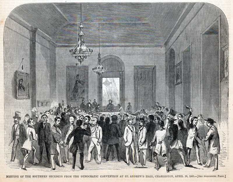 """""""Meeting of the southern seceders from the Democratic convention at St. Andrew's Hall,"""" Charleston, South Carolina,&nbsp;<em>Harper's Weekly</em>, April 30, 1860, courtesy of the&nbsp;Library of Congress Prints and Photographs Division.&nbsp;"""