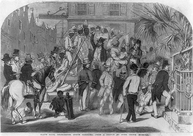 """Slave sale, Charleston, South Carolina,"" wood engraving, <em>Illustrated London News</em>, 1856, courtesy of the British Museum."