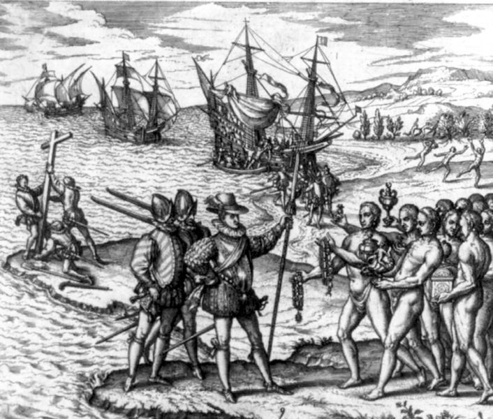 Columbus landing on Hispaniola on 6 December 1492, greeted by Arawaks, engraving by Theodor De Bry, ca. 1594, courtesy of the Library of Congress.