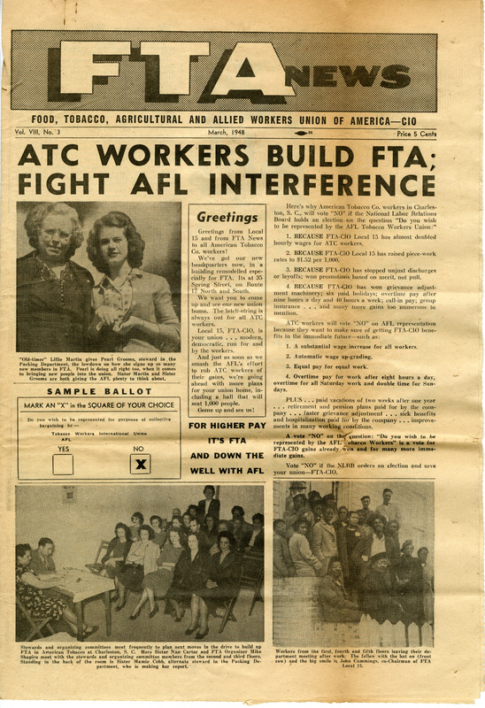 Front page of FTA News, March 1948, newpaper distributed by the Food, Tobacco, Agricultural & Allied Workers Union, the governing body of the Cigar Factory workers' Local 15 union, courtesy of the South Carolina Historical Society.