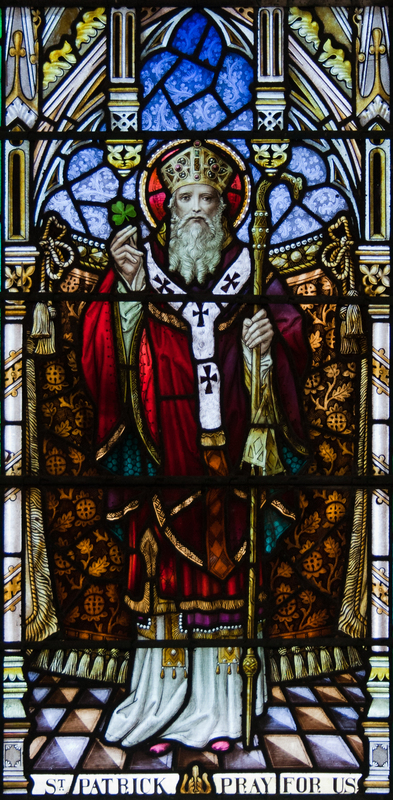 St. Patrick in stained glass window, image by Andreas F. Borchert, Church of Our Lady, Star of the Sea, and St. Patrick in Goleen, County Cork, Ireland, 2009.