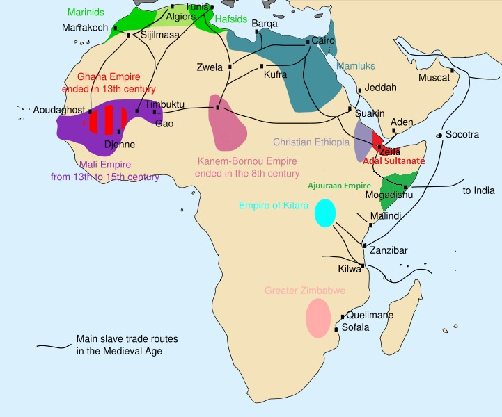 Map of Main slave trade routes in Medieval Africa before the development of the trans-Atlantic slave trade, 2012.
