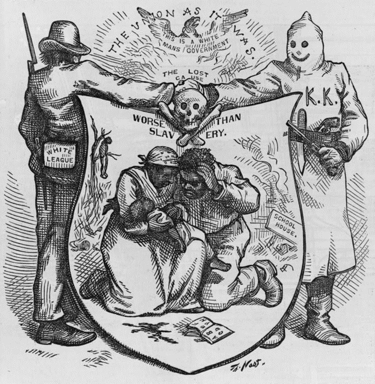 """The Union as it was; The lost cause, worse than slavery,"" 1874, wood engraving by Thomas Nast, <em>Harper's Weekly</em>, courtesy of Library of Congress."